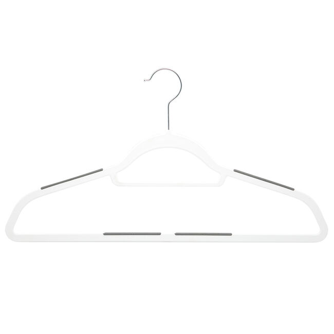 White Hangers with Anti Slip 10 Pack