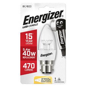 Energizer B22 LED Candle Bulb Clear 59W (EQ40W)