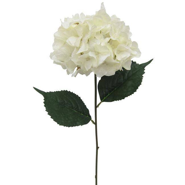 Hydrangea Spray with Foliage French White 78cm