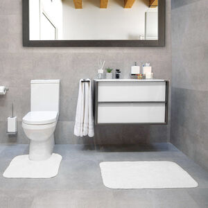Cotton Plain Dye White Bathroom Set
