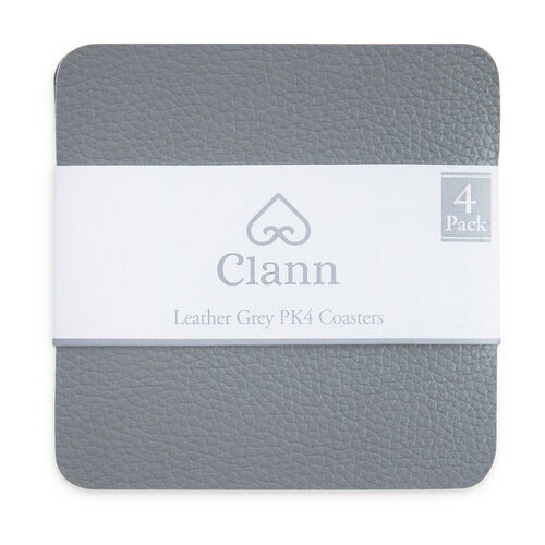 Leather Coasters 4 Pack - Grey