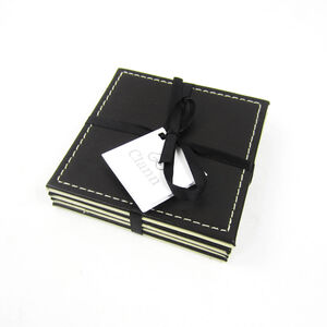 Reversible Leather Plain Coasters - Choc & Cream