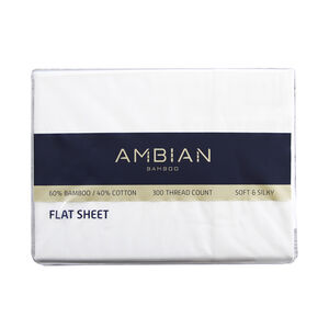 SINGLE FLAT SHEET 300Tc Bamboo/Ctn White