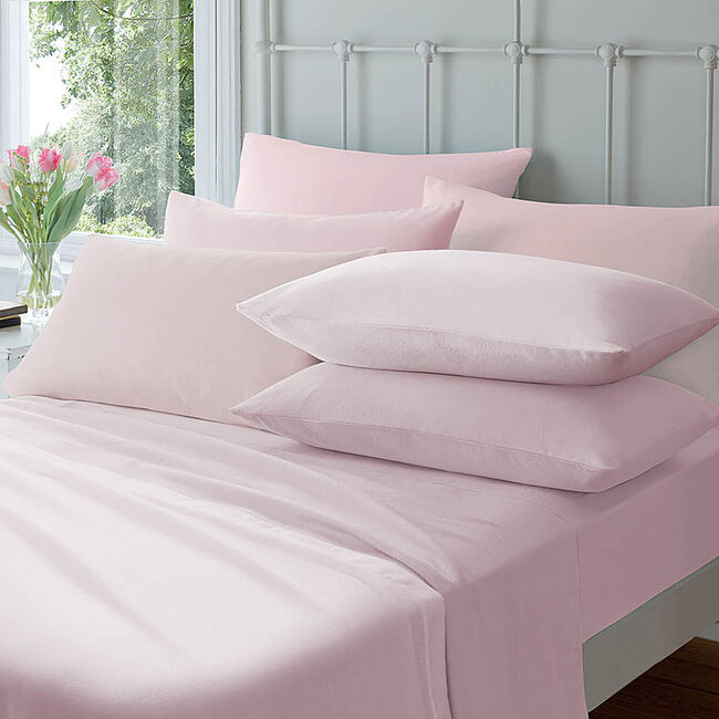 Flannelette Housewife Pillowcase Pair - Pink