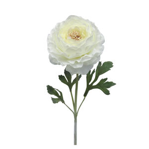 Ranunculus Flocked Stem Cream Flower 46cm