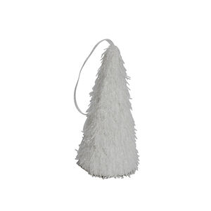 Feathered Cone Tree Decoration - White
