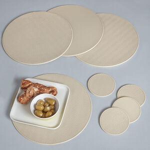Reversible Round Herringbone Placemats - Cream
