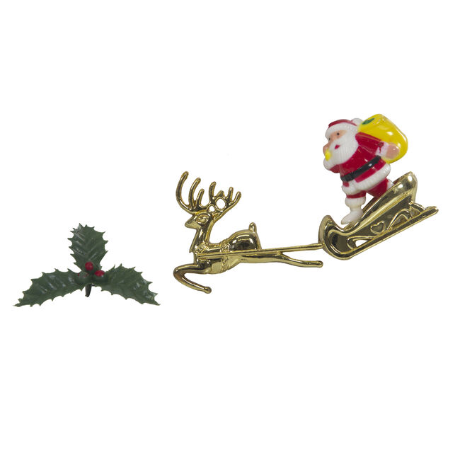Santa & Sleigh with Holly Cake Picks