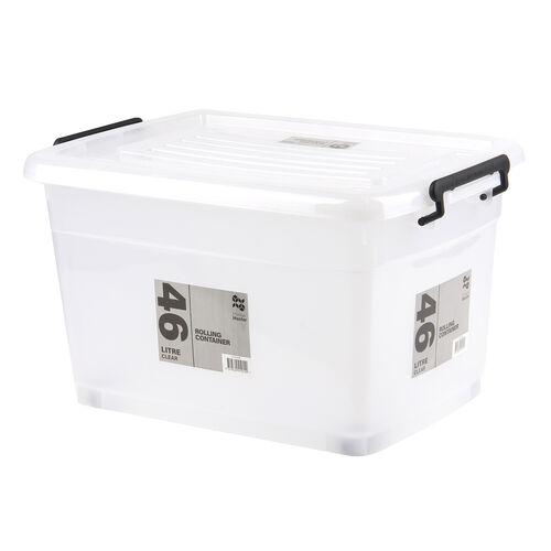 Rolling Storage Box 46L - Clear