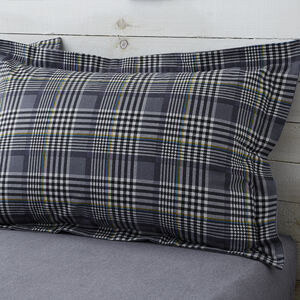 Brushed Cotton Wall Check Oxford Pillowcase Pair