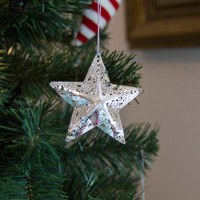3D Hanging Star Decoration Silver