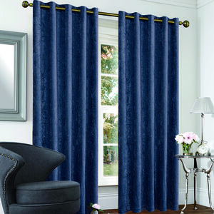 Blackout and Thermal Crushed Velvet Navy Curtain