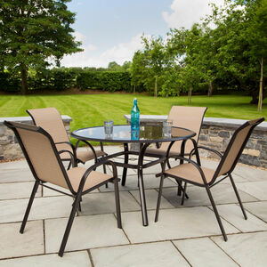 Girona Round Garden Set Brown 5 Piece