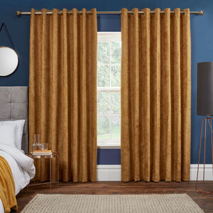 BLACKOUT & THERMAL HERRINGBONE OCHRE 90x90 Curtain