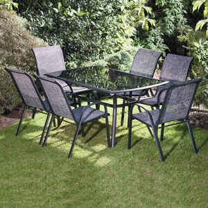 Portia Black 7 Piece Rectangular Garden Set