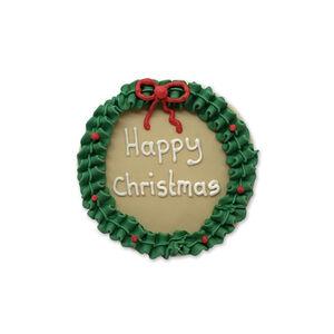 Happy Christmas Wreath Handmade Icing Cake Topper