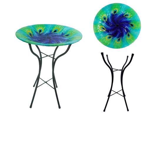 Peacock Design Glass Birdbath Table