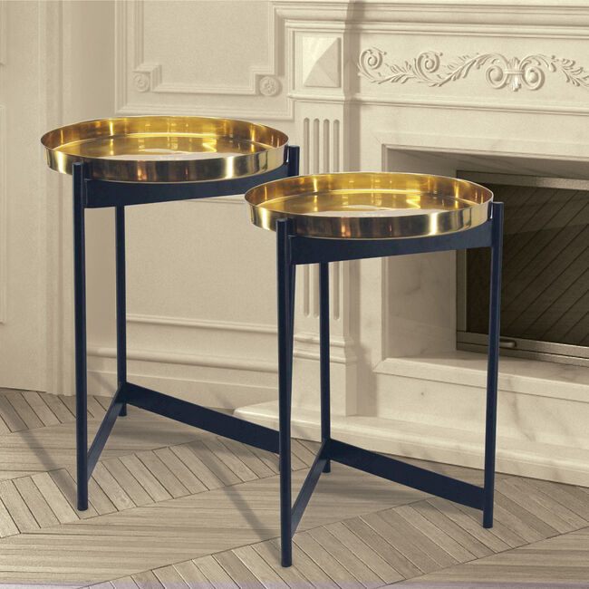 Hugo Brass Tables Pair 37x37x51cm