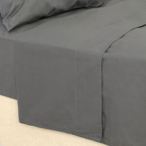 SINGLE FLAT SHEET 200 Threadcount Cotton Grey