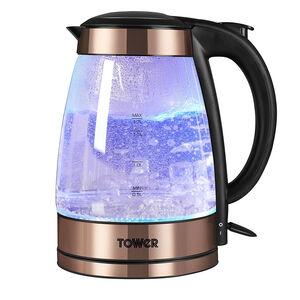 Tower Copper Illuminating Glass Kettle 1.7L