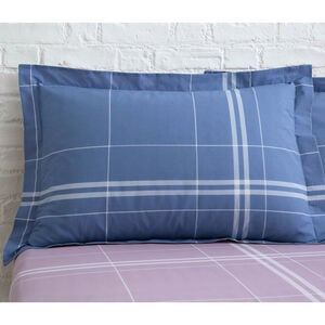 Moran Oxford Pillowcase Pair - Blue/Mauve