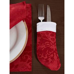 Damask Stocking Cutlery Holder Red