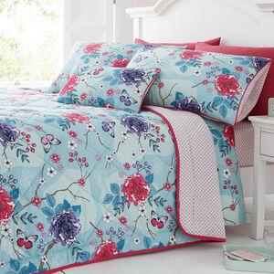 Floral Admiration Duck Egg Bedspread 200cm x 220cm