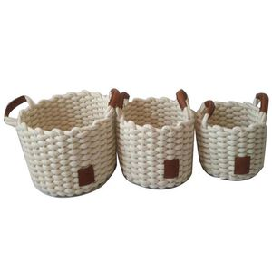 Weft Round White Baskets Set of Three