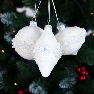 White Pearl Xmas Tree Decorations