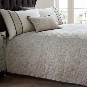 Linen Geo Bedspread 240x260cm - Charcoal