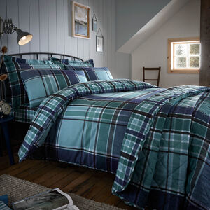 Brushed Cotton Freeman Check Duvet Set - Teal