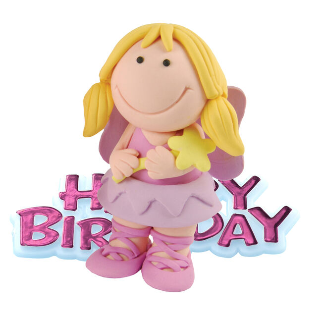 Happy Birthday Fairy Resin Cake Topper