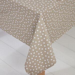 Polka Dot PVC Tablecloth Natural 160 x 230cm