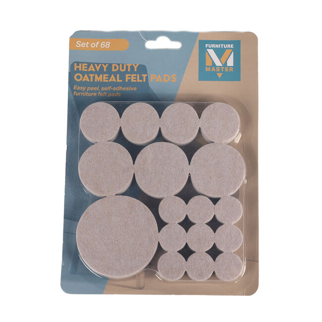 Heavy Duty Felt Pads 68 Pack - Oatmeal