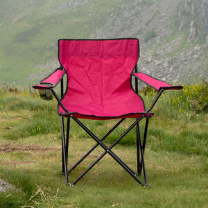 Folding Armchair with Cupholder Red