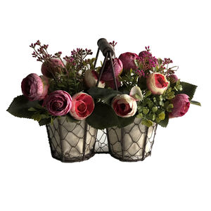 Fuschia Peony Flowers With Basket