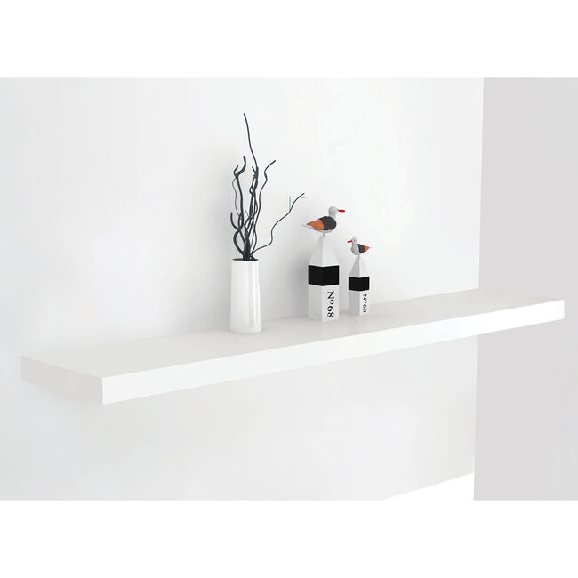 Bergen 80cm Gloss White Floating Shelf