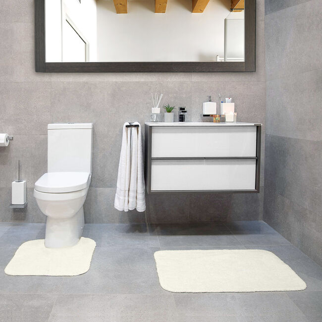 Cotton Plain Dye Cream 2 Piece Bath Set Cream