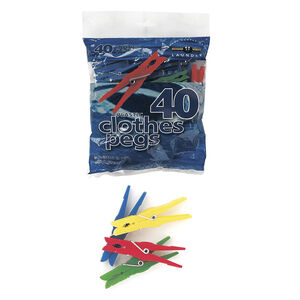 Plastic Assorted Colour Pegs 40 Pack