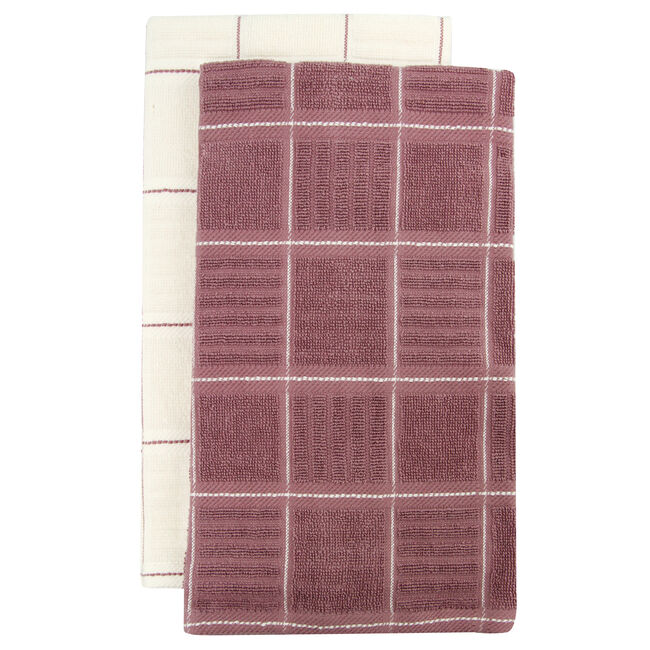 Check Kitchen Tea Towel 2 Pack - Heather