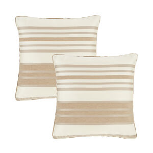 Chenille Stripe Cushion Cover 2 Pack 45x45cm - Natural