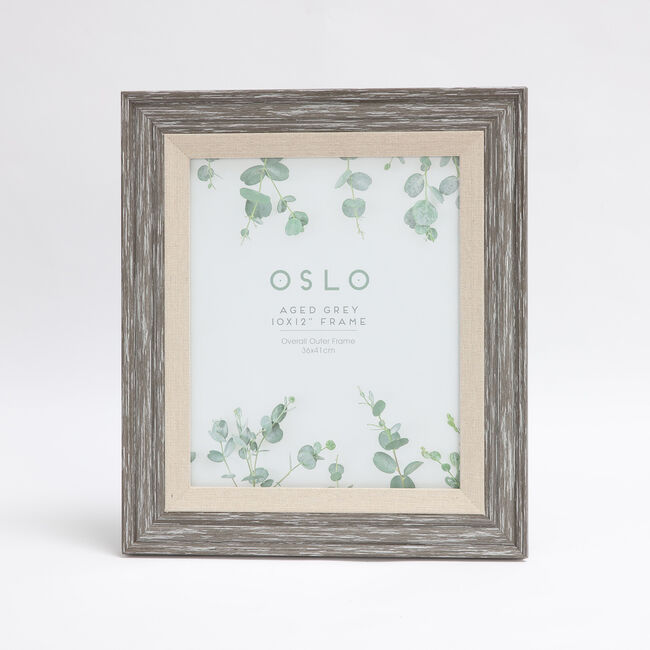 Oslo Aged Grey Photo Frame 10x12""