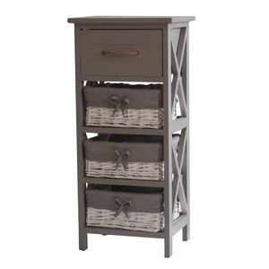 Country Cross Drawer & 3 Basket Storage Unit -Grey