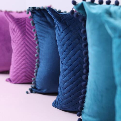Triangle Stitch Cushion 58x58cm - Purple