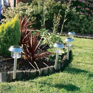 Solar Pin Lights Stainless Steel 4 Pack
