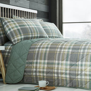 Brushed Cotton Naughton Check Bedspread