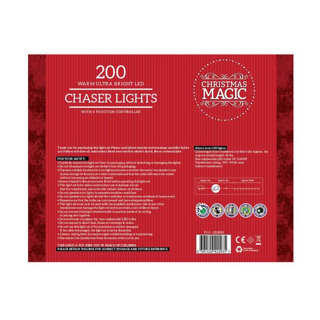 200 Bright LED Chaser Lights Warm White
