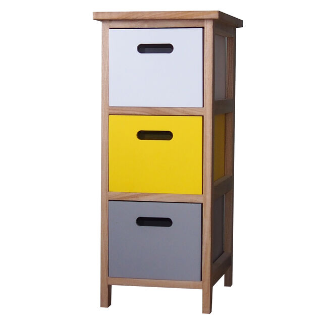 Kari 3 Drawer Yellow Pop Unit