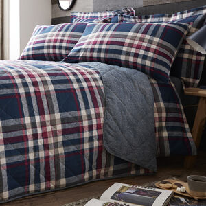 Brushed Cotton Matthews Check Bedspread 200x220cm