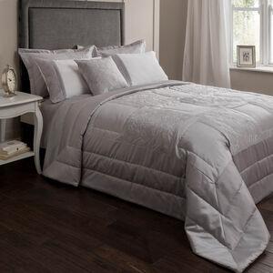 Glitter Rose Silver Bedspread 220cm x 230cm